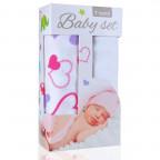 Baby set - bambusová osuška hearts / srdíčka  +  bambusová osuška white / bílá