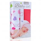 Baby set - bambusová osuška hearts / srdíčka  +  bambusová osuška pink / růžová