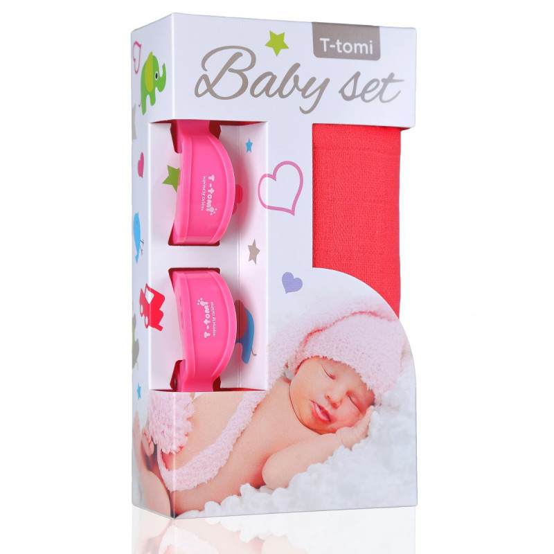 Baby set - bambusová osuška pink / růžová + kočárkový kolíček pink / růžová