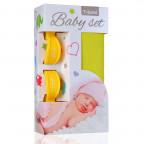 Baby set - bambusová osuška yellow / žlutá + kočárkový kolíček yellow / žlutá