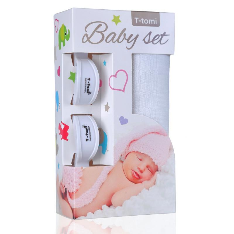 Baby set - bambusová osuška white / bílá + kočárkový kolíček white / bílá