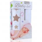 Baby set - bambusová osuška beige stars / béžové hvězdičky + bambusová osuška white / bílá