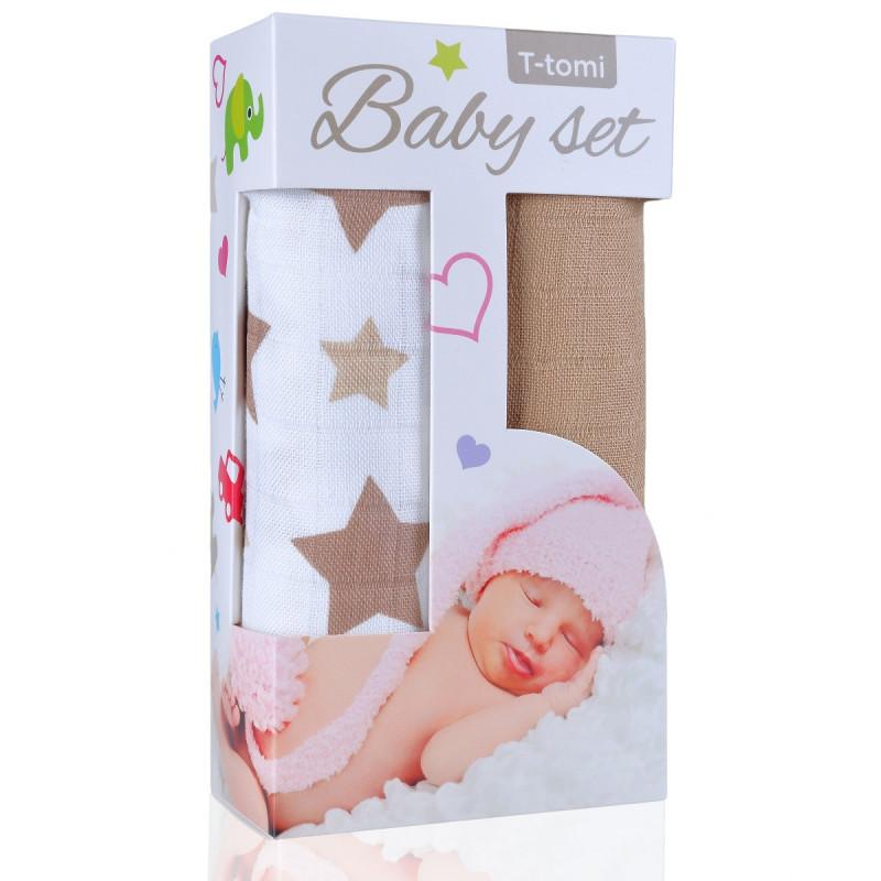 Baby set - bambusová osuška beige stars / béžové hvězdičky + bambusová osuška beige / béžová