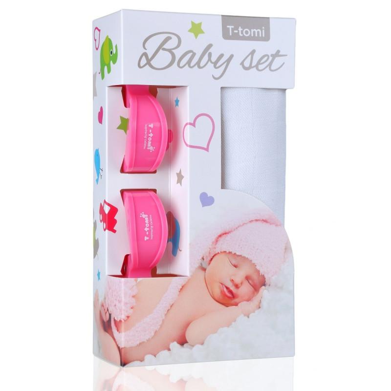 Baby set - bambusová osuška white / bílá + kočárkový kolíček pink / růžová