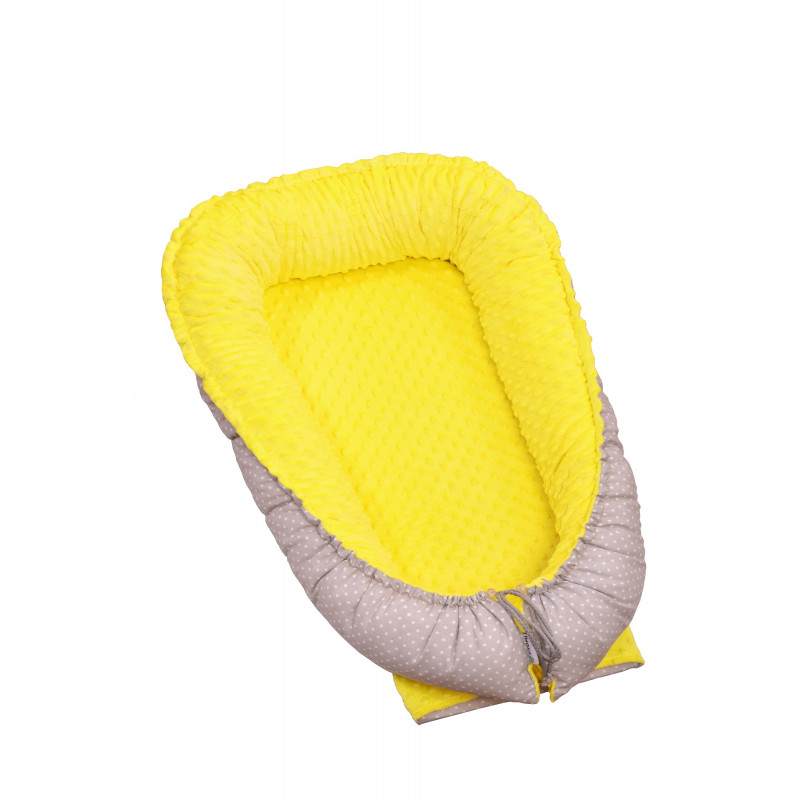 Hnízdečko pro miminko MINKY, yellow / little grey dots