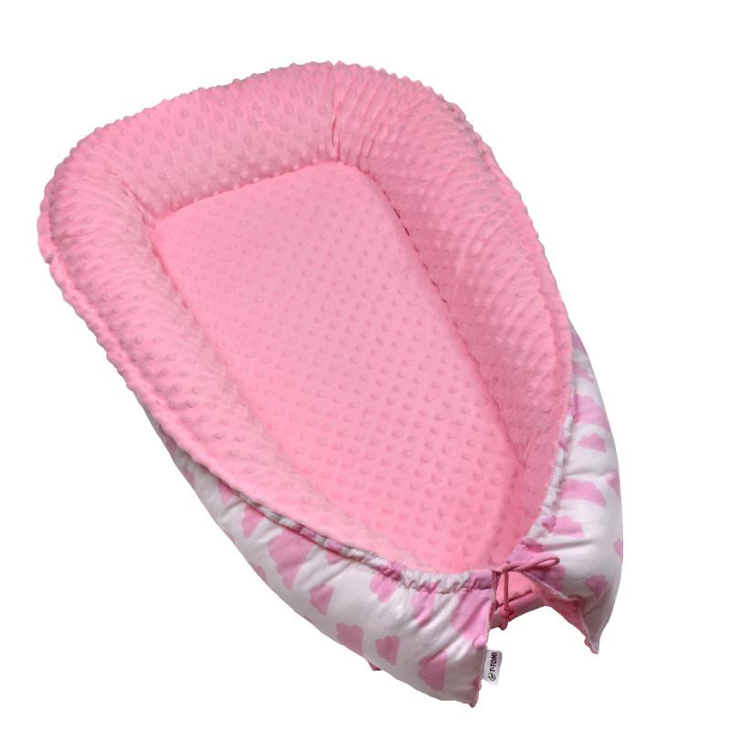 Hnízdečko pro miminko MINKY, white / pink clouds