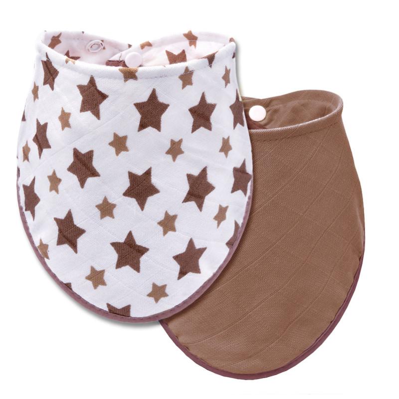 BIO Bambusový slintáček, beige stars + beige / béžové hvězdičky + béžová - 2 ks