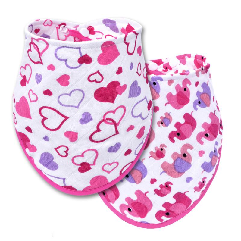 BIO Bambusový slintáček, hearts + pink elephants / srdíčka + růžoví sloni - 2 ks.