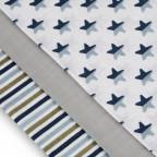 TETRA pleny TOP KVALITA, s potiskem, 70x70, blue stars  / modré hvězdičky