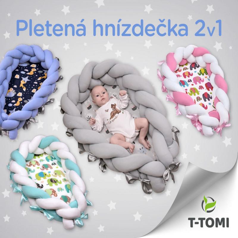 Pletené  hnízdečko 2v1, blue bears
