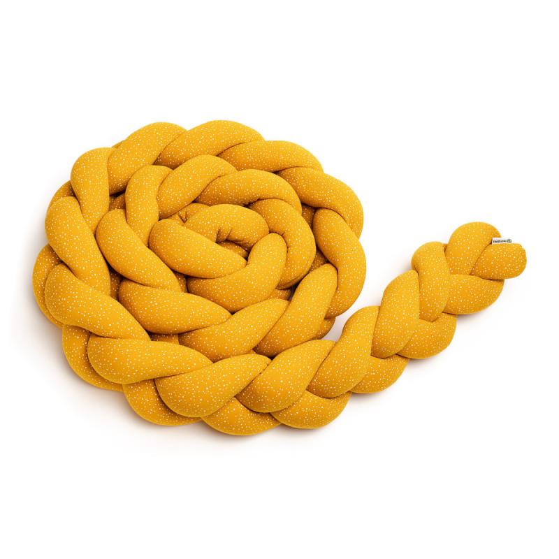 Pletený mantinel 220 cm, mustard dots