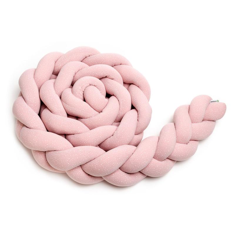 Pletený mantinel 220 cm, pink dots