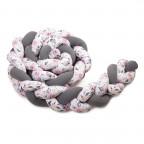 Pletený mantinel 360 cm, antracit + roses