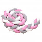 Pletený mantinel 360 cm, white + grey + pink